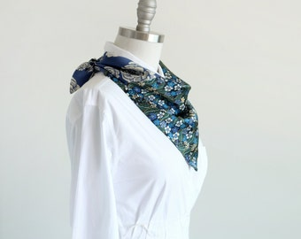 Blue floral scarf in Liberty Sophie Jane floral print + modern woodcut rose, blue spring scarf for her, reversible scarf