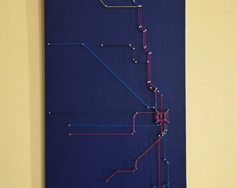 Chicago String Art- Transit Map (Navy)