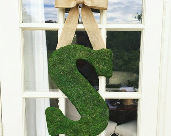 18 inch Moss Covered Letter, Moss Covered Monogram with Bow for Hanging