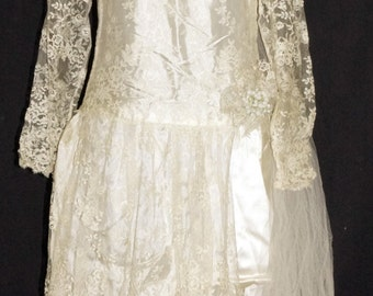 1920s Wedding Dress Veil Sz 2-4 Vintage Deco