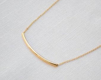 ON SALE! Gold Bar Minimal Dainty Necklace | Gift Under 15 Dollars
