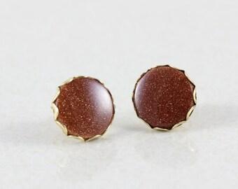 14k Yellow Gold Goldstone Earrings Stud Earrings