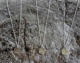 Tiny Sterling Sorority Necklace, Sis, Big, Lil, Sterling silver, Greek, Letter, Necklace, silver necklace, Sorority Necklace, Initial