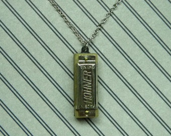 Droll Miniature Harmonica Charm Necklace - Pee Wee Harmonica Pendant - Really Plays!