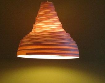 """Modern Light, Pendant Light,  """"Hurricane"""" - Maple Wood Veneer Lampshade"""
