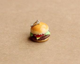 Cheeseburger Charm, Polymer Clay Cheeseburger, Miniature Food Jewelry, Miniature Cheeseburger, Polymer Clay Charm