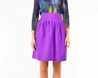 Purple flared mini skirts with pleats. Full romantic skirt.
