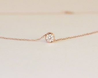 Tiny Solitaire Diamond Necklace, Rose gold diamond necklace, delicate necklace, bridesmaid gift, tiny CZ necklace, everyday necklace.