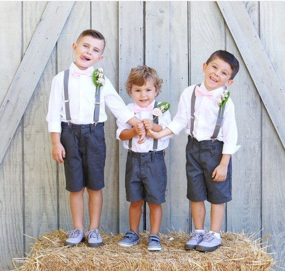 Boys blush pale pink bow tie and suspender set wedding bow