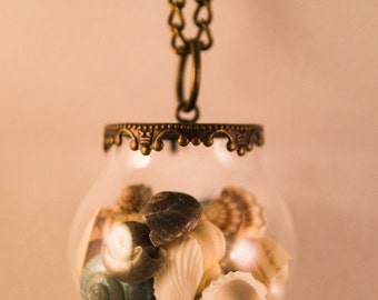 Little Globe Bottle Antique Bronze Long Necklace, Glass Bottle Necklace, Cute Necklace, Little Bottle Pendant.