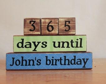 Birthday Countdown Blocks- Countdown to Birthday- Unique Birthday Gift- Birthday Blocks- Childrens Birthday Gift- Personalized Birthday Gift