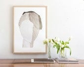 Large Fine Art, Contemporary Archival Giclee Print, 50x70 Winter White Abstract Minimalist Artwork, 27x20