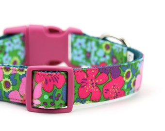 Pink Teal Green Floral Dog Collar Bright Blue Purple Flower Girly Adjustable - Layla