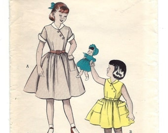 1950s Butterick 6466, Girls' Dress with Flared Skirt, Diagonal Buttoned Bodice, Vintage Sewing Pattern, Size 2 Breast 21