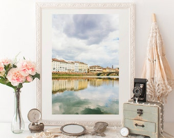 Home and Office Decor Photography Print - Florence, Italy, Pastel Yellow, Black and White