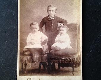 Antique cabinet card photo Victorian portrait three children Vermont late 1800s  from MilkweedVintageHome