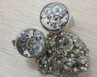 Steampunk Watch Movement Cufflinks - Men's Accessories - Jewelry for Men - Steampunk Jewelry for Men - Watch Lovers - Clock Parts Industrial