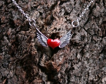 The wings of Love - Winged Heart - Sterling silver necklace. Enameled red heart with wings. Biker. Romantic. Valentines. Lover. Gift for her