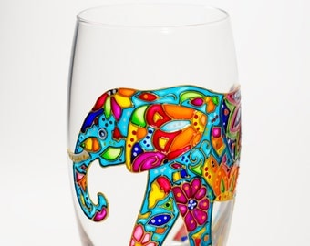 Elephant Wine Glass Hand Painted Drinking Glasses, Stemless Wedding Glasses Bohemian Elephant, school supplies pencil holder