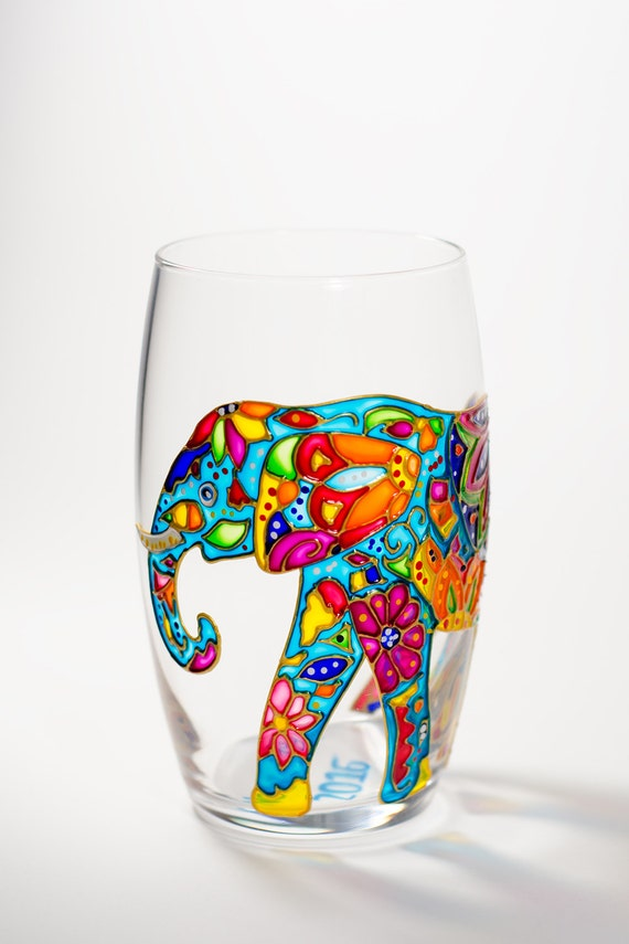 Elephant wine glass hand painted drinking glasses stemless for Hand painted drinking glasses