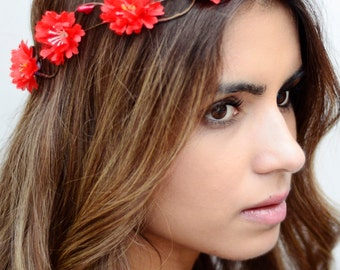 THE ROUGE - Red  Flower Halo Crown Vine  Hair Jewelry Hair Accessories Boho Floral Crown Flower Girl Spring Christmas Crown