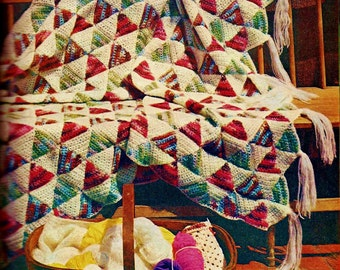 Triangle Quilt Patch Afghan Vintage Crochet Pattern Download
