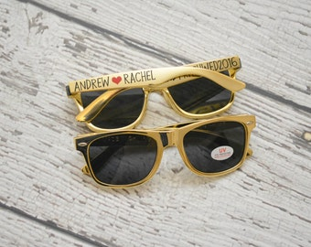 Metallic Gold Wedding Favor Sunglasses - personalized hashtag bride groom