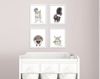 Forest Creatures, Woodland Nursery Prints, Baby Animal Portraits, Set of 4 Woodland Animal Creature Prints, Squirrel, Mouse, Hedgehog, Skunk