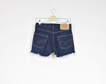 40% OFF SALE - Vintage LEVI'S 501 High Waisted Navy Blue Denim Cut Off  Shorts / W30