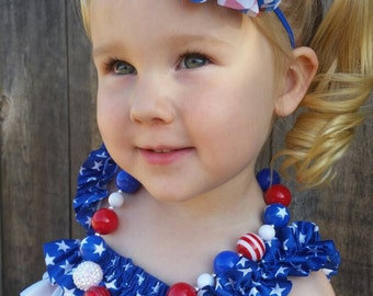 Patriotic Headband, 4th of July, Military Homecoming, Military Ceremony, Red White and Blue, hair bows, baby headband