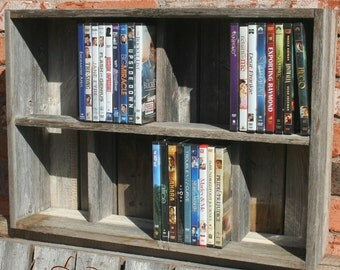 Movie DVD Cubby - 31 custom sizes - Storage fits video games and standard movie dvd cases - Reclaimed Wood