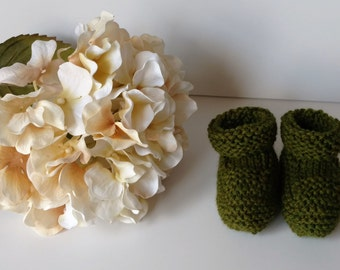 Knitted Baby Booties, Size 3 Months, Colorway Grass, Washable, Baby Gift, Green