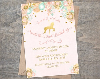 Pink Gold Carousel invitation | Digital Printable Peach Mint horse princess carnival floral confetti
