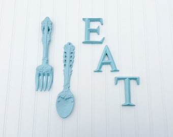EAT Sign, Fork u0026 Spoon Wall Decor -Fork and Spoon Wall Art - Utensil -  Kitchen Decor -Kitchen Letters - Kitchen Sign - Silverware Wall Sign