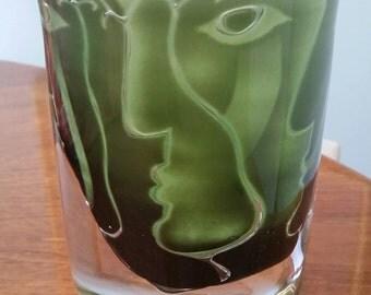 Ingeborg Lundin Ariel Faces Glass Vase Orrefors Sweden Midcentury Modern