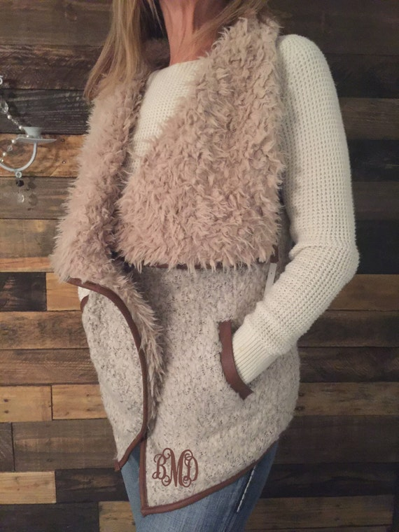 Monogram Faux Fur Vest/Women's Monogram Faux Fur Vest/Monogram Vest/Women's Faux Fur Vest