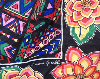 "Vintage Laura Geraldi Floral Black Pink Blue Red Orange Green Tribal Batik 31"" Square Silk Scarf Wrap Headband 1980's"