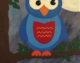 Who? Wise owl kids room painting