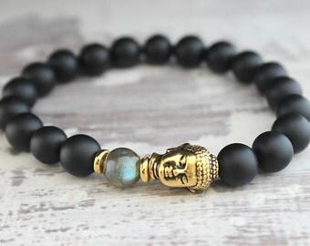 Mens Buddha Bracelet Labradorite Black Onyx Bracelet Mens Gifts Boyfriend Birthday Gift Mens Bracelet Father Bracelet