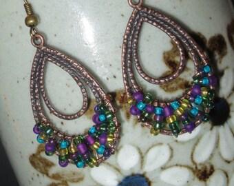 Multi-Colored Beaded Teardrop Earrings