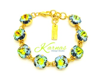 GOLDEN SAHARA 12mm Cushion Cut Crystal Pendant Bracelet Made With Swarovski Elements *Pick Your Finish *Karnas Design Studio *Free Shipping*