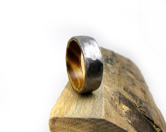 ironwood ring hammered titanium ring hammered ring mens wedding ring mens engagement - Wedding Rings Men