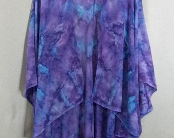 "Hand Painted Silk Chiffon Ruana Cape ""Purple-Turquoise Blend"""