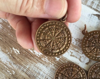 Two-Sided Small Round Thai Buddha Amulet Pendant