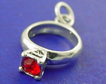 JULY Birthstone Charm, Birthstone Ring Charm .925 Sterling Silver