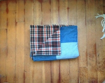 "Upcycled Denim Throw Size: 48"" wide x 64"" long"