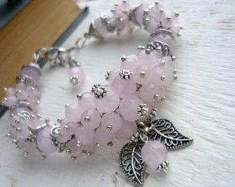 Cluster pink beaded bracelet glass bracelet beaded jewelry women's bracelet pink jewelry beadwork bracelet cluster jewelry chunky bracelet