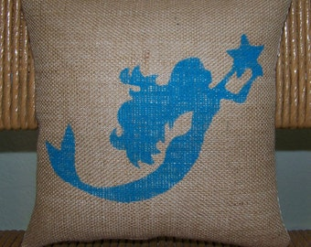 Mermaid pillow, Burlap pillow, Ariel pillow, Under the sea pillow, Beach pillow, Nautical pillow, stenciled pillow, FREE SHIPPING!