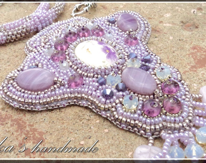 Pendant in the shape of the iris flower, embroidered with Czech beads, crystals and natural stones, ready to ship