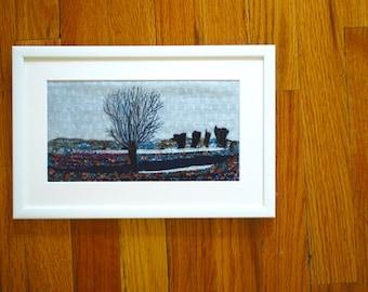 Winter Landscape Textile Art - Hand Embroidery - Wintry Scene - Stitch art - Framed decorative artwork